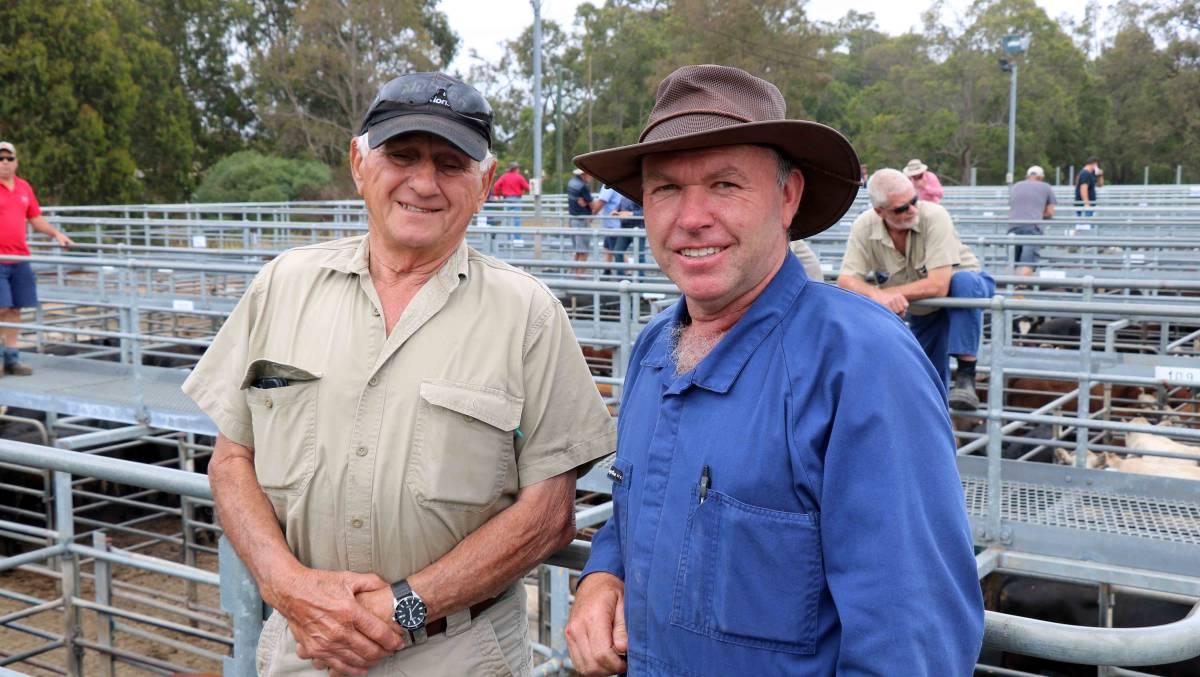 Sale regular Lou Tuia (left), Donnybrook, caught up with Chris Wringe, Kirup, before the Elders sale.