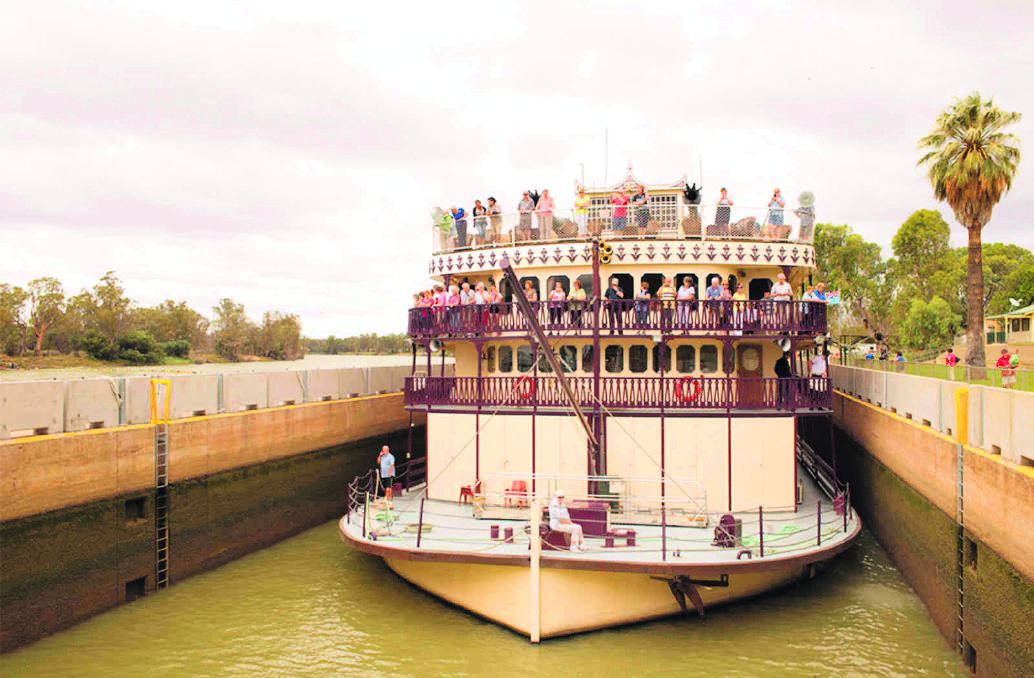 The stately Murray Princess paddlewheeler carries 120 passengers.
